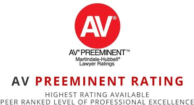 Logo for a AV Preeminent Rating red dot with white AV text. Alan Feldman is ranked as an AV Preeminent Lawyer