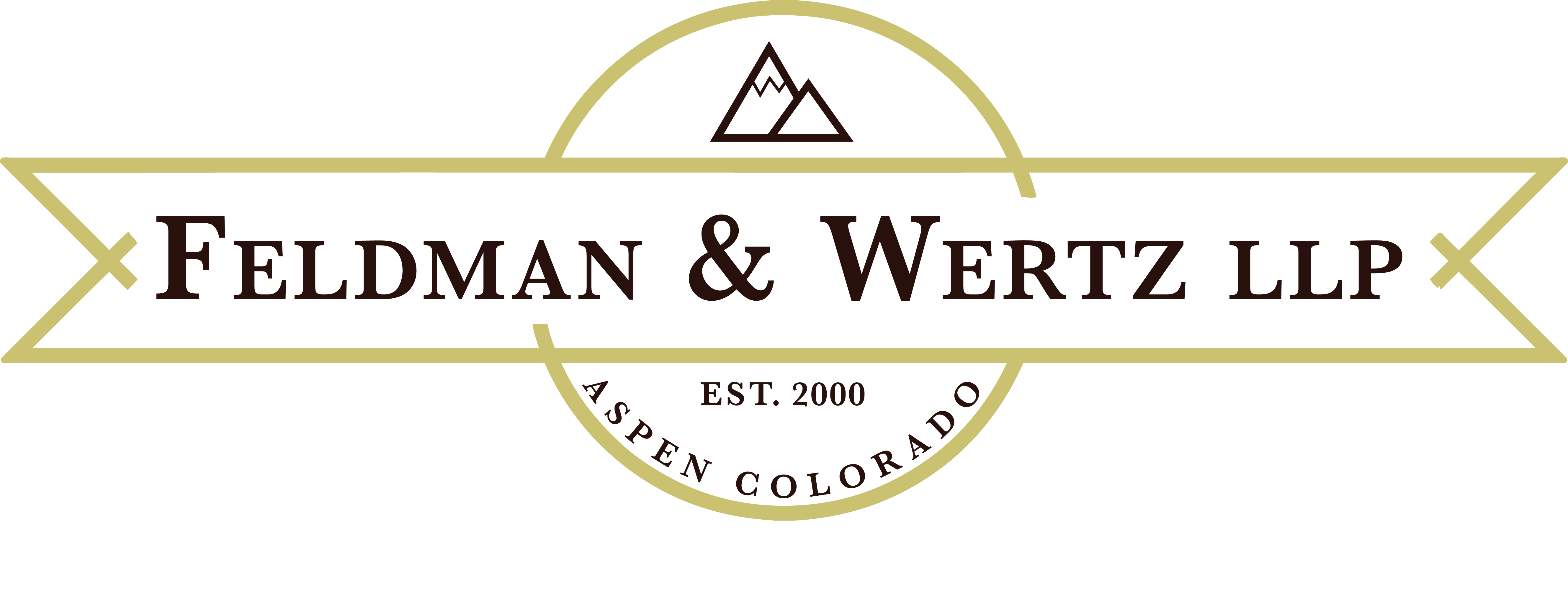 Feldman & Wertz, LLP logo-circle with mountains and established in 2000 in Aspen, CO