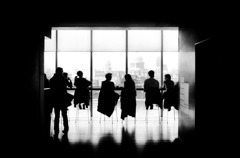 Black and white image of conference